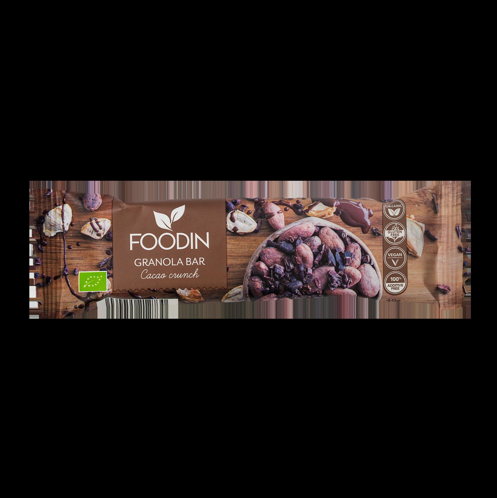 Granola bar Cacao Crunch, luomu välipalapatukka 40 g