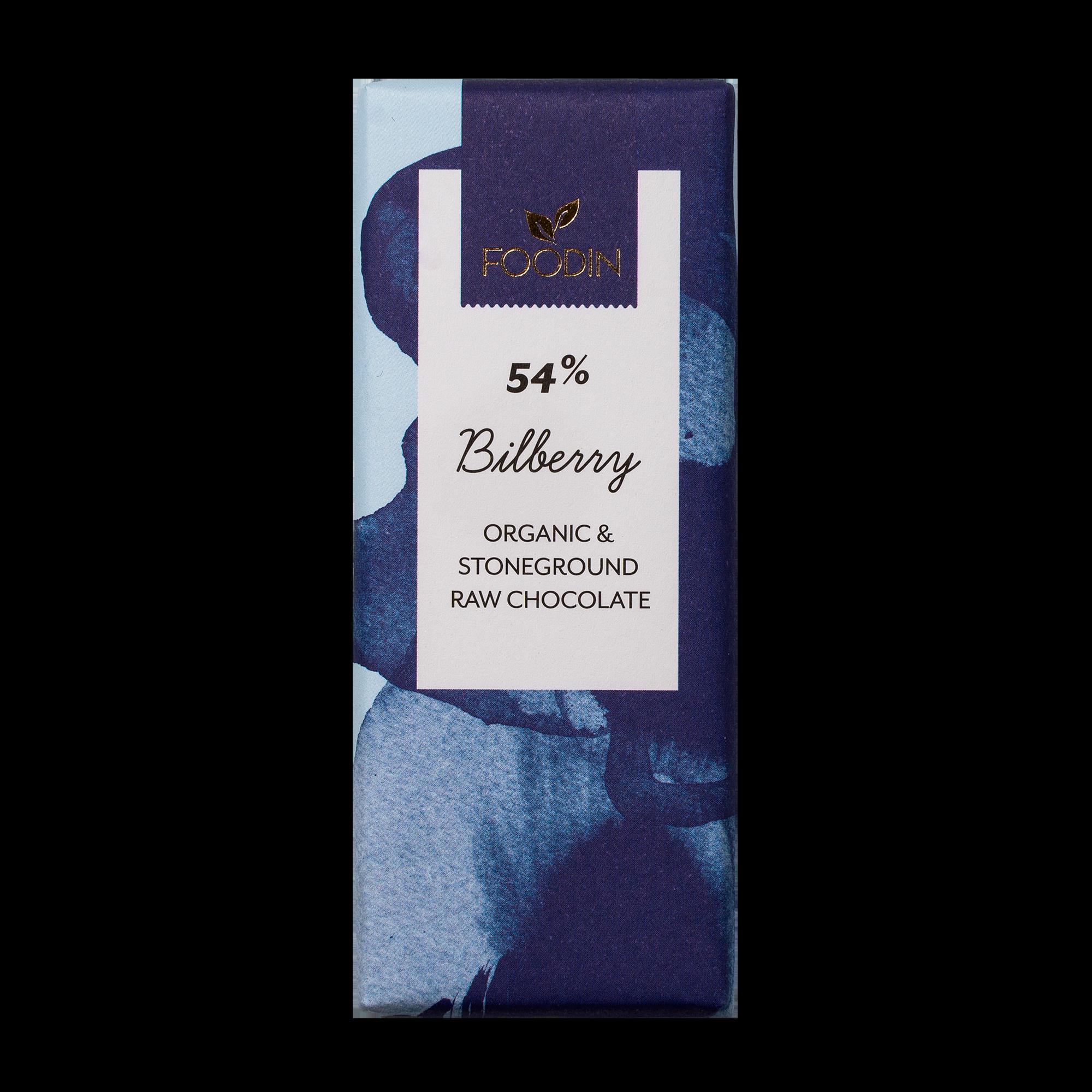 Raakasuklaa, Luomu, 54% Bilberry, 40 g