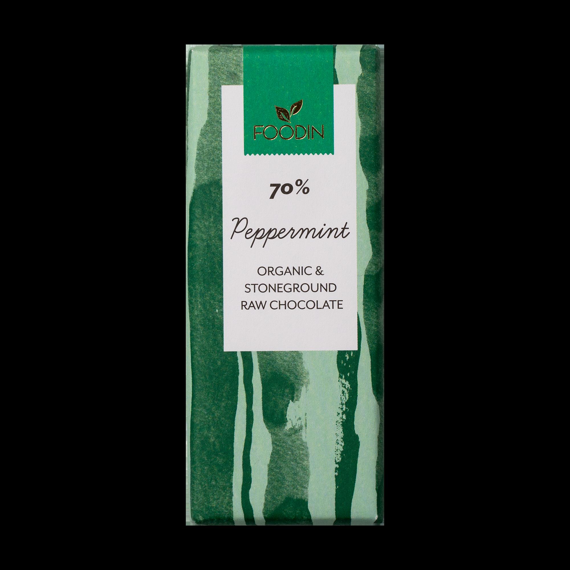 Raakasuklaa, Luomu, 70% Peppermint, 40g