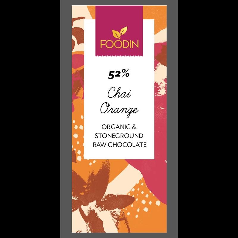 Raakasuklaa Chai-orange 52%, luomu 40g