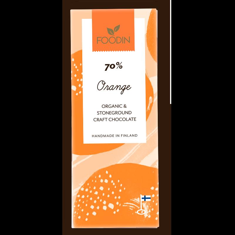 Raakasuklaa, Luomu, 70% Appelsiini, 40g